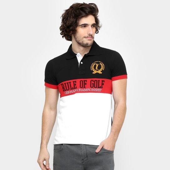 Camisa Polo Local Piquet Bordado - Preto+Vermelho eca166996a8a5
