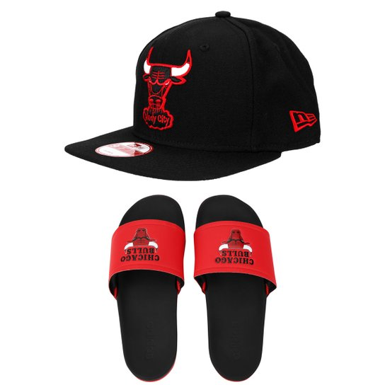 Boné New Era 950 Chicago Bulls + Chinelo Adidas Adilette Chicago Bulls -  Preto+Vermelho d119d52045b