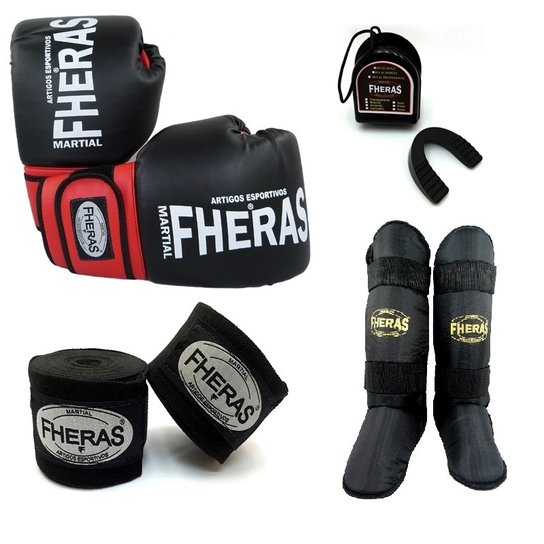 557b99e1f Kit Fheras Luva de Boxe   Muay Thai Orion 10 oz + Bandagem + Bucal + ...