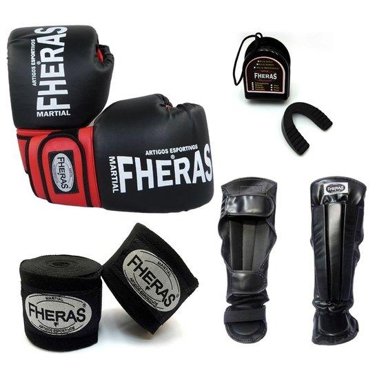 c48cf058d Kit Fheras Luva de Boxe   Muay Thai Orion 12 oz + Bandagem + Bucal + ...