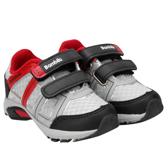 Tênis Bambilú Lander Velcro Infantil - Preto+Vermelho 13294697baefb