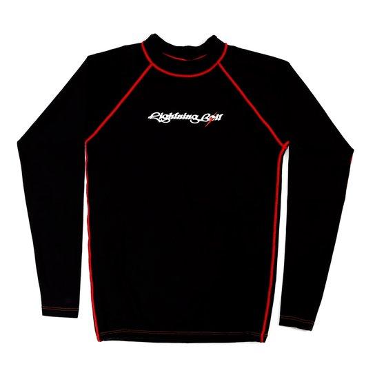 3ab935baa Camisa de Lycra Manga Longa com proteção UV 50 - Preto e Vermelho ...