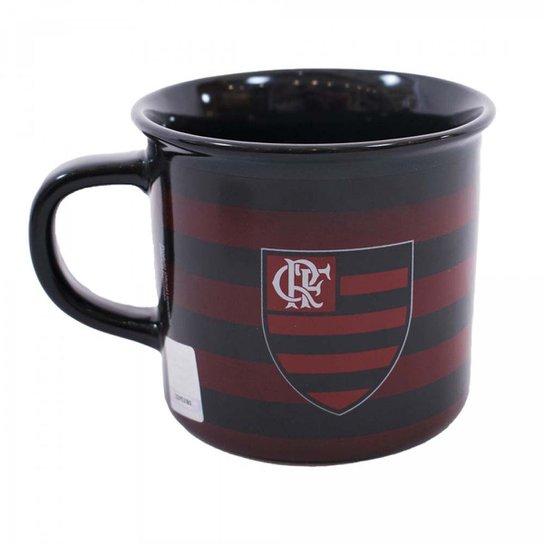 Caneca Flamengo De Porcelana 400ml - Preto+Vermelho 89396d7c49145