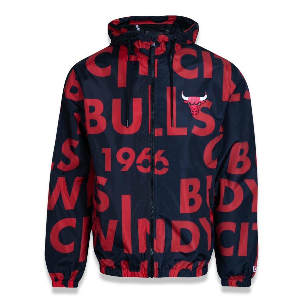 Jaqueta Corta Vento Chicago Bulls New Era Logomania Big Lettering Masculina