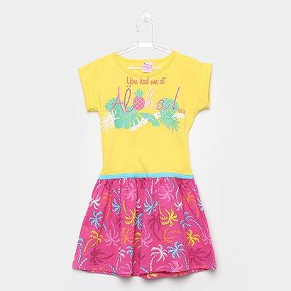 Vestido Infantil For Girl Curto Evasê Estampa Folhagem
