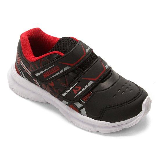 e0951d8ef2 Tênis Infantil No Stress Running Velcro - Preto e Vermelho