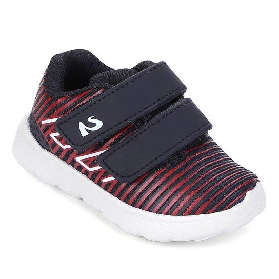ea02ade52d Tênis Infantil No Stress Velcro Bebê - Preto e Vermelho