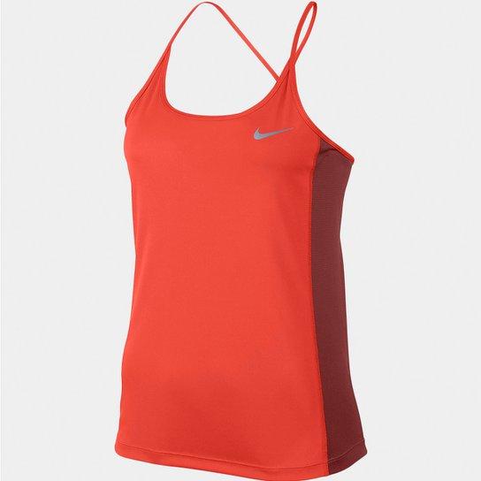 eb0fb11730e88 Regata Nike Dri-Fit Miler Feminina - Laranja e Vermelho - Compre ...