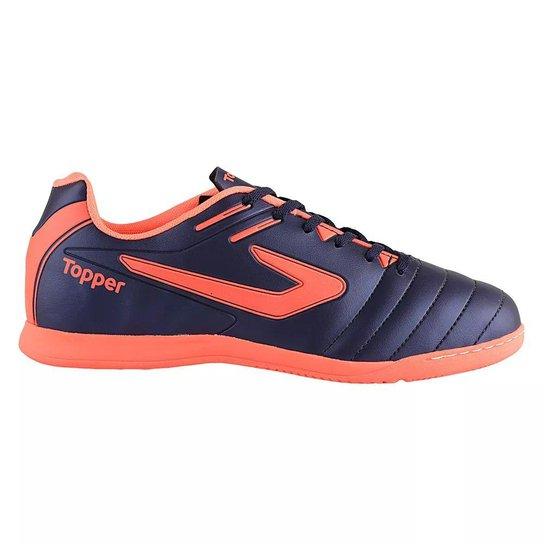Chuteira Futsal Topper Boleiro Masculino - Salmão e Azul - Compre ... a1dfcecad280b