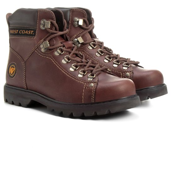 05152f6d631bc Bota Couro Coturno West Coast Worker Masculina - Café | Netshoes