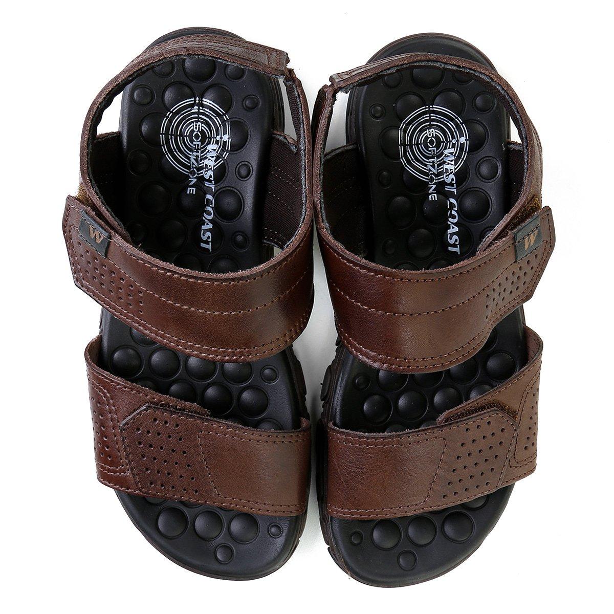 dd0ca6582 Chinelo West Coast Couro Velcro Masculino