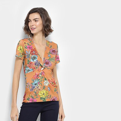 Blusa Estampada Floral Colcci Manga Curta Feminina