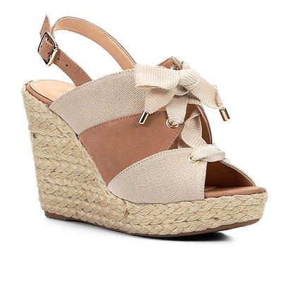 Sandália Plataforma Couro Shoestock Lona Feminina