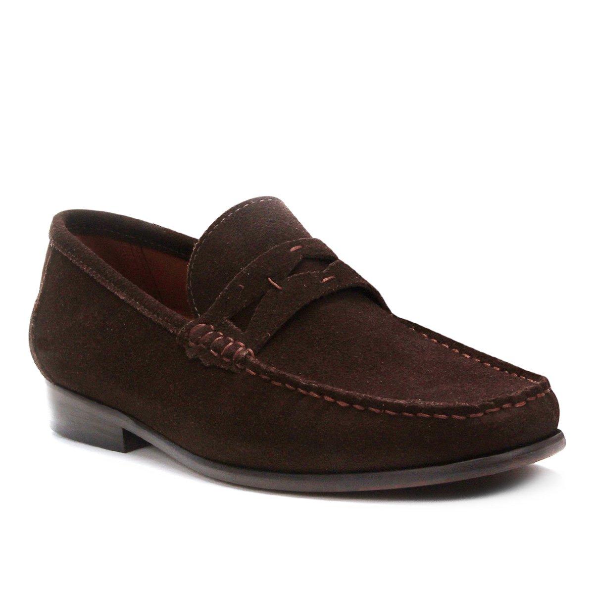 Mocassim Couro Shoestock Camurça Gravata Masculino