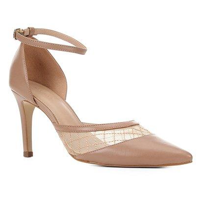 Scarpin Couro Shoestock Tela Bordada Feminina