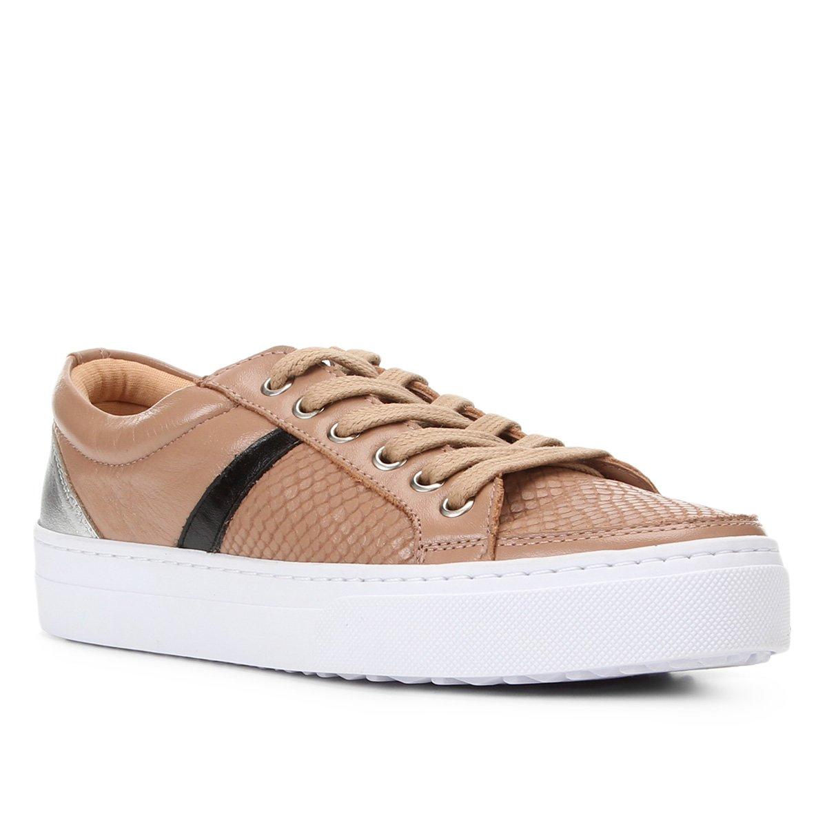 Tênis Couro Shoestock Cobra Listra Feminino