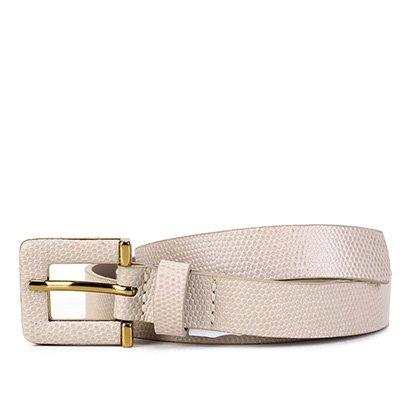 Cinto Couro Shoestock Textura Fivela Larga Feminino