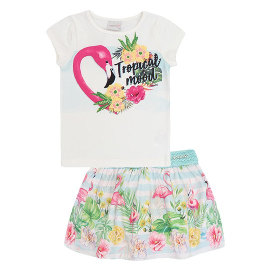 Conjunto Infantil Momi Blusa e Saia Short Flamingo Feminino - Bege ... fcc068971e005