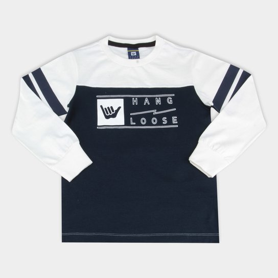 63a8b96cb1 Camiseta Infantil Hang Loose Manga Longa Estampada Masculina - Branco+ Marinho