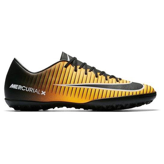 Chuteira Society Nike Mercurial Victory 6 TF - Preto e Laranja ... 25790f4b2ce90