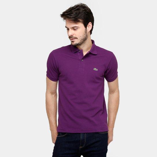 f6c0033c9cd Camisa Polo Lacoste Original Fit Masculina - Roxo e Branco - Compre ...