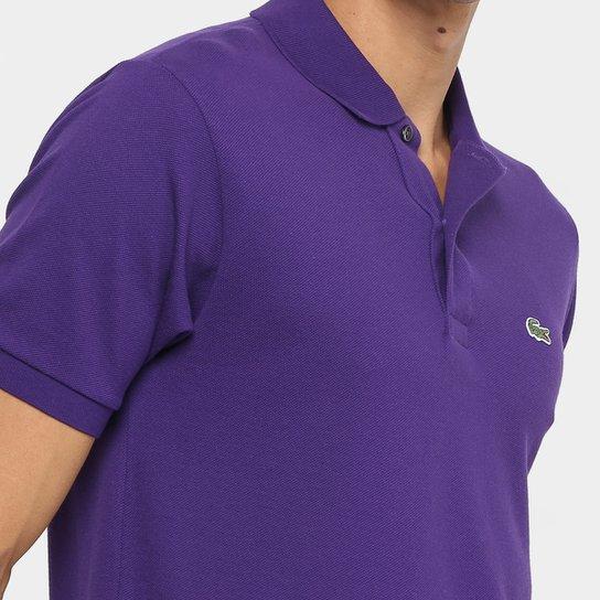843e0c0e28 Camisa Polo Lacoste Piquet Original Masculina - Roxo e Branco ...