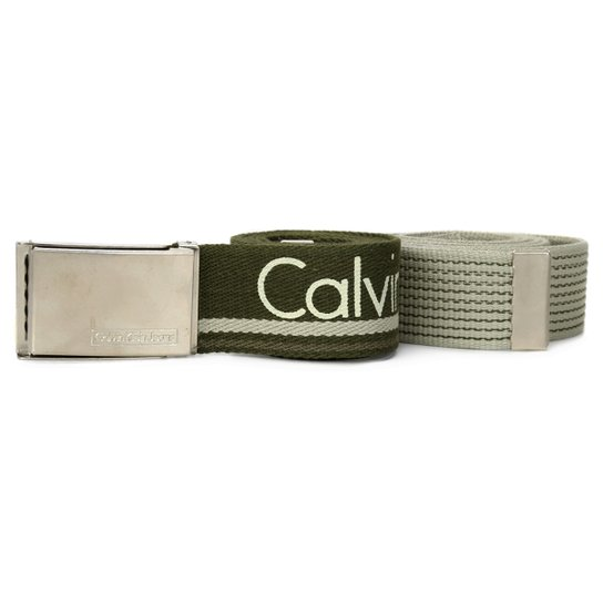 add233d6035 Kit Cinto Calvin Klein 2 Peças - Verde Militar+Bege