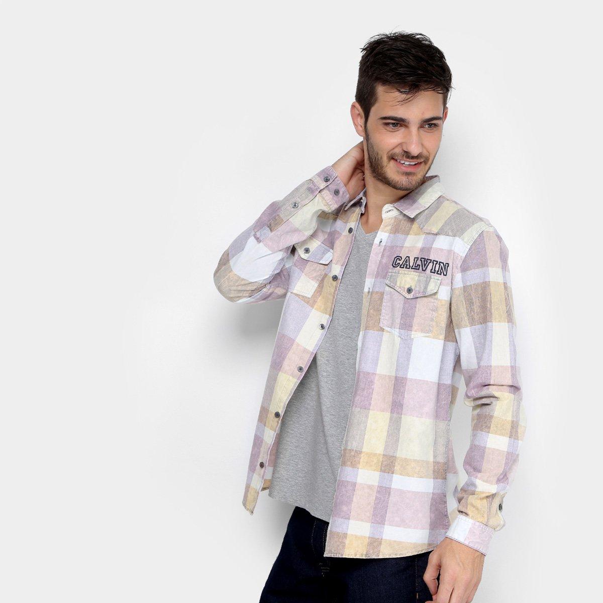 e9743c2a3b Camisa Calvin Klein Xadrez com Bolso Masculina. undefined