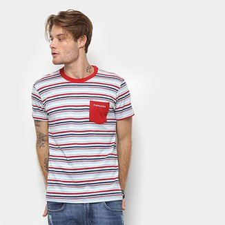 9e26aee280 Camiseta Cavalera Estampa Listrada Detalhe Bolso Masculina