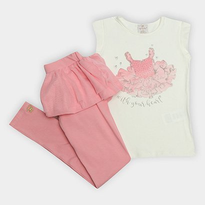 Conjunto de Blusa + Calça Legging Infantil Up Baby Feminina