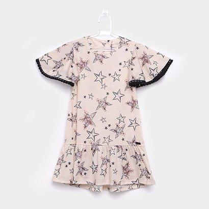 Vestido Infantil Up Baby Babado Estampa Estrela