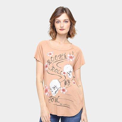 Camiseta Colcci Caveira Bordada