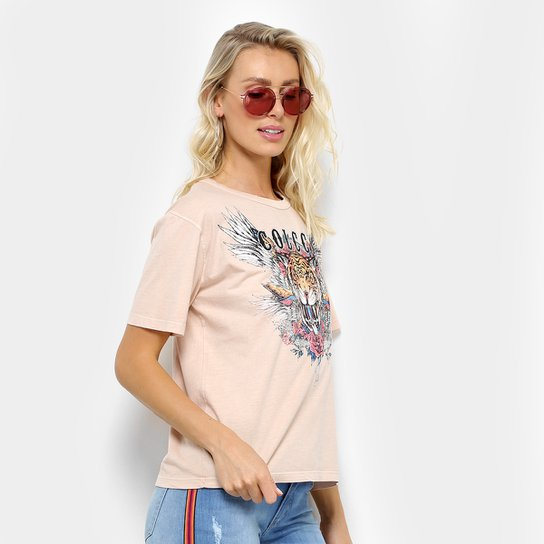 b1f6d2926 Camiseta Colcci Tigre Feminina - Bege | Netshoes