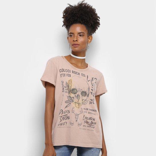 999858e05 Camiseta Colcci Rock Feminina - Bege | Netshoes