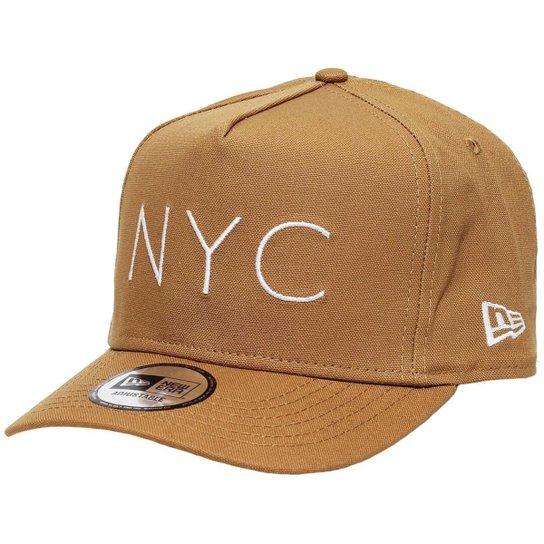 Boné New Era Aba Curva Snapback Brand Nyc - Bege - Compre Agora ... 02c8ca04a86da