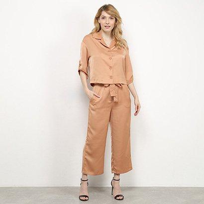 Conjunto Il Shin Calça Pantacourt + Camisa Feminino