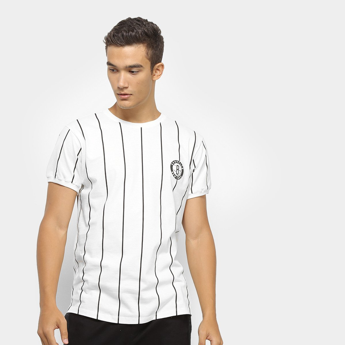 abb133881e Camiseta NBA Clas Stripes Brooklyn Nets Masculina - Tam: P ...