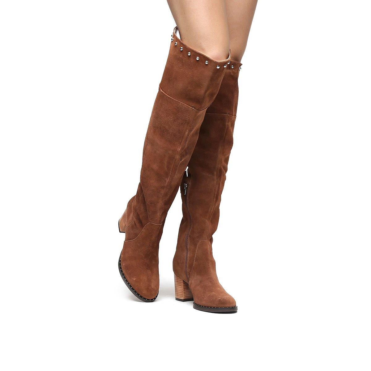 eb0b8c369 Bota Couro Shoestock Over the Knee Vira Cravos Feminina. undefined