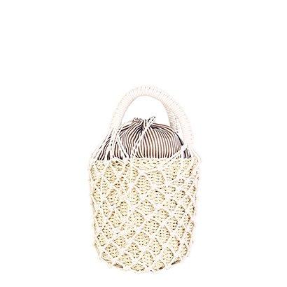 Bolsa Shoestock Bucket Crochê Palha Pequena Feminina