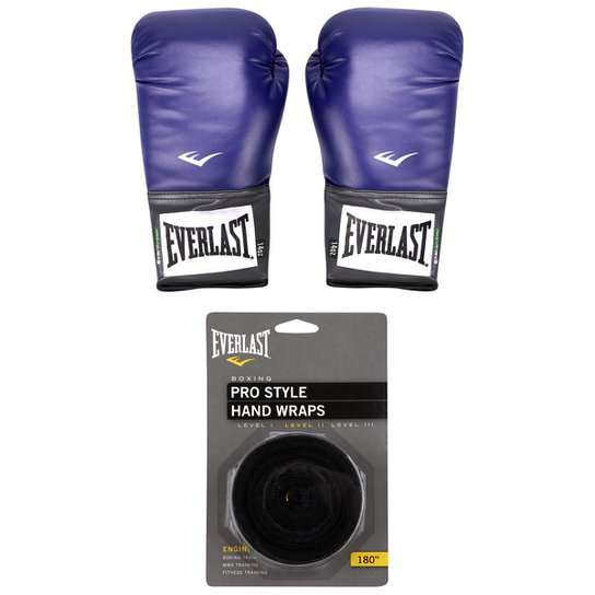 efc31f2b9 Kit Luva de Boxe Muay Thai Everlast Pro Style 14 oz + Bandagem Elástica  Everlast