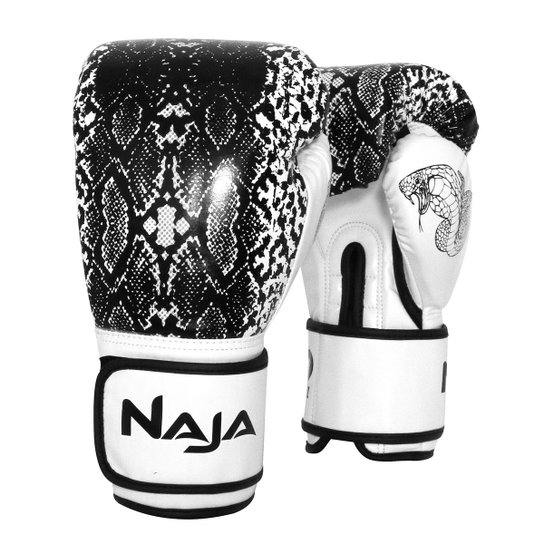 91fc111c9 Luva de Boxe   Muay Thai Feminina Naja Animal Print Cobra 12 Oz - Off White