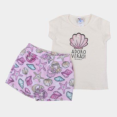 Conjunto Infantil Pulla Bulla Blusa + Short-Saia Sereia Feminino