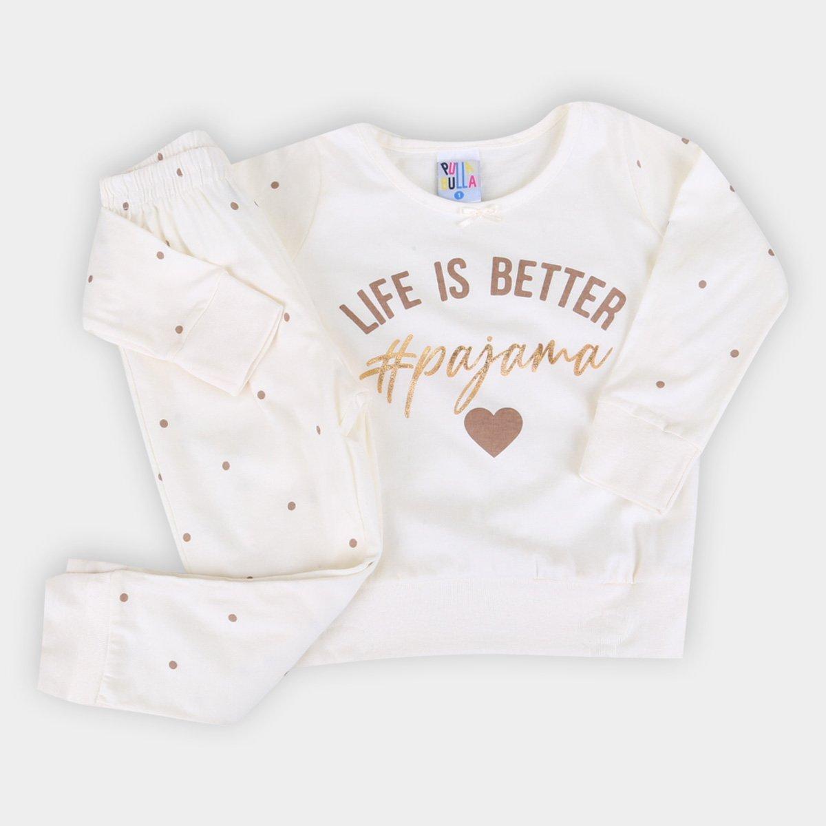Pijama Longo Juvenil Pulla Bulla Poá Feminino