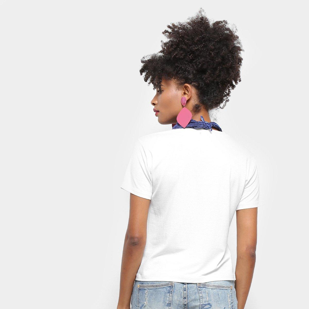 Foto 2 - Camiseta T-Shirt Aura Manga Curta Com Lenço Feminina