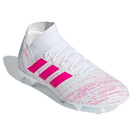 716c551561 Chuteira Campo Adidas Nemeziz 18 3 FG - Branco e Pink