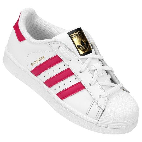 3293110fb5b Tênis Adidas Superstar Foundation El Infantil - Branco e Pink ...