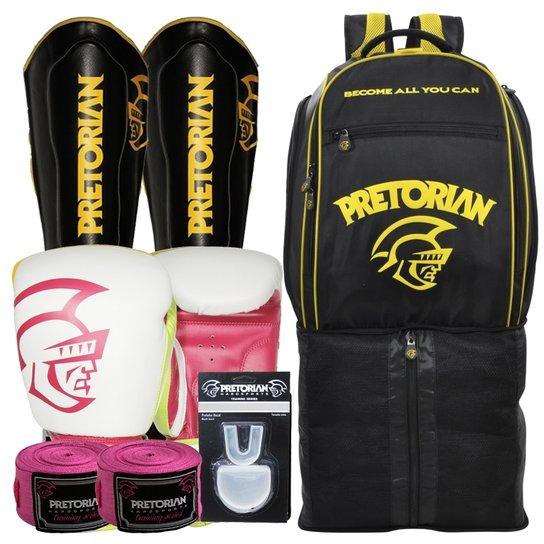 Kit Boxe Pretorian 12Oz Branco E Pink + Protetor Canela + Mochila Maxi Top  - Branco 89223f72fffaa