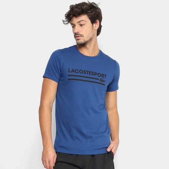 Camiseta Lacoste Sport Masculina - Marinho e Preto - Compre Agora ... defb11f5cc245