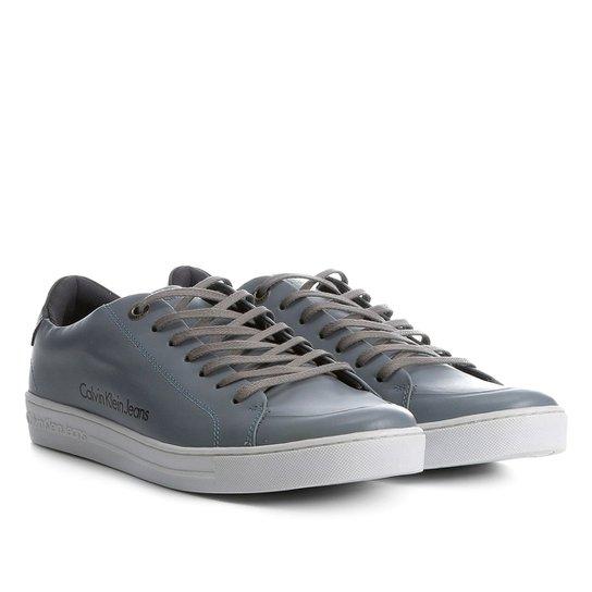 f57da0be17e Sapatênis Couro Calvin Klein Masculino - Cinza - Compre Agora