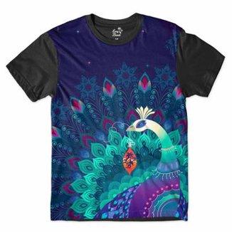 Camiseta Long Beach Psicodélica Pavão Misterioso Sublimada Masculina 309675b3cc2